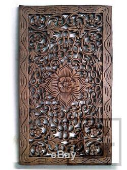 35x60cm 1 Pair Lotus Teak Wood Carving Home Wall Panel Mural Art Decor #01 gtahy