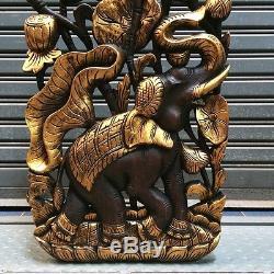 36x13 Elephant Lotus Teak Wood Carved Handicraft Wall Decor Wall Panel Art