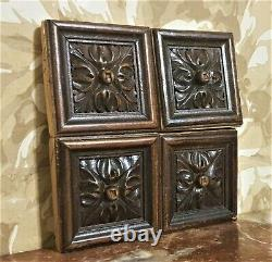 4 Decorative rosette wood carving panel Antique french architectural salvage