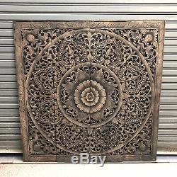 4-Feet Black-Washed Teak Wood Carving Wall Art Panel Floral Bed Headboard