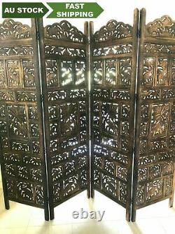 4 Panel Folding screen luxury hardwood hand-Carved Room Divider Elephant Pattern