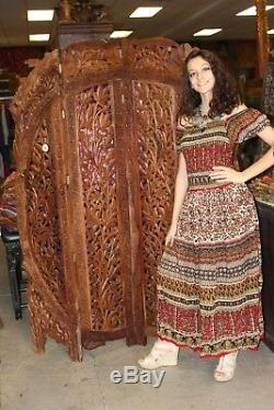 4 Panel Room Divider Vintage Hand Carved HEADBOARD ARCHED Indian Rustic SCREEN