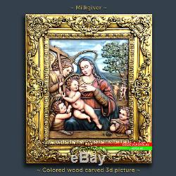 41 Wood Carved painting 3D Milkgiver picture panel art icon Orthodox Catholic