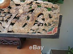 553. Antique Carved Gold Gilt Wood Panel with Dragon