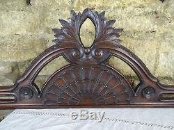 57 Antique French Carved Wood Architectural Pediment Panel Solid Mahogany