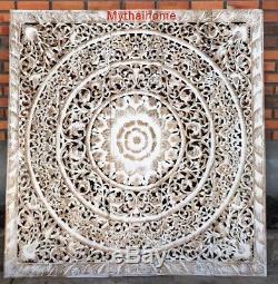 5ft Headboard Lotus Flower Wooden Craved Carving Teak Wood Art Panel Sculpture