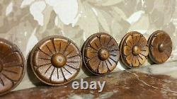 6 Decorative rosette flower carving panel Antique french architectural salvage