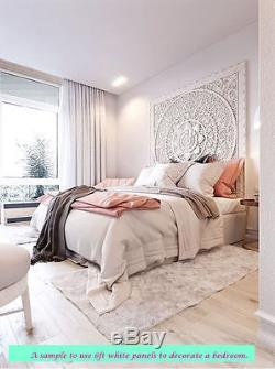 6ft King Bed Headboard Lotus Flower Wooden Craved Carving Teak Art Panel White 1