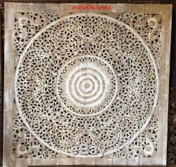 6ft King Bed Headboard Lotus Flower Wooden Craved Carving Teak Art Panel White W