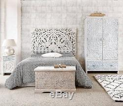 6ft Large White Lotus Sculpture Headboard Teak Wood Carved Panel Wall Decor Thai