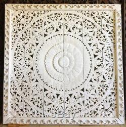17-inch Floral Teak Wood Carving Wall Round Panel Art Handcraft Wall Sculpture