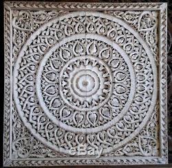 72 White Wash Teak Wood Lotus Carving Wall Art Panel Handicraft Decor Headboard