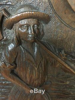 90840 French Antique Carved Wood Architectural Panel Brittany 1880s