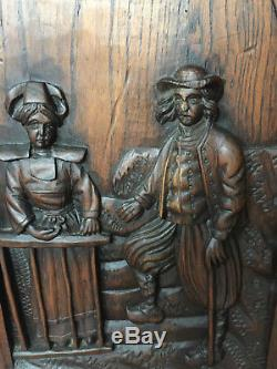 90841 French Antique Carved Wood Architectural Panel Brittany 1880s