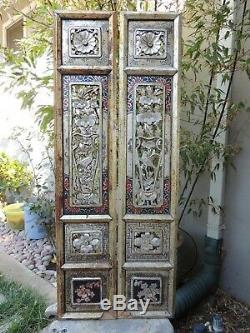 967P. Antique Carved Gold Gilt Wood Panel with two pcs/set Flower / Vase and Bird