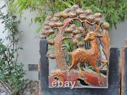 A. 225P. Antique Carved Gold Gilt Wood Panel with Deer and Pine