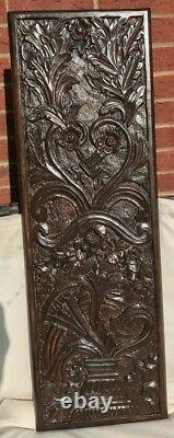 A Brand New Antique Look Wall Hanging Panel Flower Vase Carved Real Mango Wood
