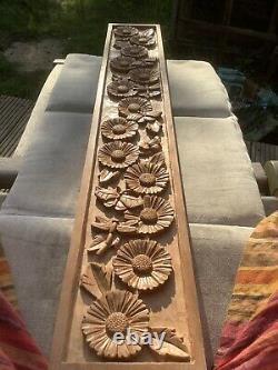 A Daisy Chain Carved In Cherry With Bees Butterflies And Dragonflies Wall Panel