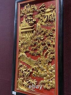 A Pair Of Beautiful Gilt And Lacquered Chinese Carved Panels