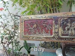 A252. Antique Carved Gold Gilt Wood Panel with Drama Actor and Fish