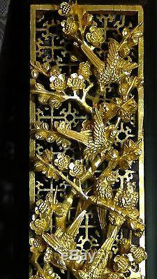 ANTIQUE 19c CHINESE DEEP RELIEF WOOD CARVED PIERCED GILT TEMPLE PANEL WithBIRDS