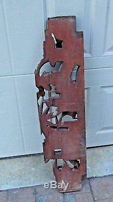 ANTIQUE 19c CHINESE LARGE TEMPLE WOOD CARVED GILT PIRCED ARCHITECTURAL PANEL