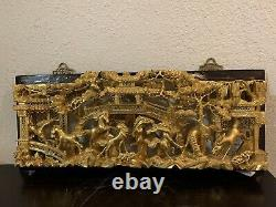 ANTIQUE CHINESE GILT WOOD CARVING PANEL WITH Trees and Horses