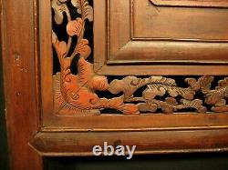 ANTIQUE CHINESE QING DYNASTY 150yrs HAND CARVED WOOD PANEL RED YUMU ELM 19x37