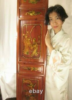 ANTIQUE CHINESE QING DYNASTY c1860 HAND CARVED PAINTED PANEL RED GREEN GOLD 51
