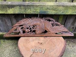 ANTIQUE French CARVED WOOD COCKEREL PEDIMENT bird top rail plaque panel folk art