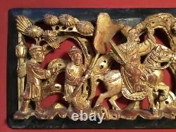 ANTIQUE LATE 19th c QI'ING CHINESE WOODEN CARVED PANEL BATTLE SCENE HORSE RIDER