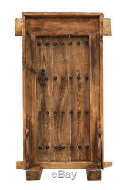 ANTIQUE RUSTIC SCULPTURE CARVED ELM WOOD DOOR WALL PANEL. 50'' x 84''H