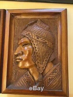AYMARA Indian G ARIAS Bas Relief Wood Carving Panel Plaque c. 1950s BOLIVIA