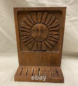 Ackerman Era Industries Carved Wood Sun Face Panel Knife Holder- Vintage- Good