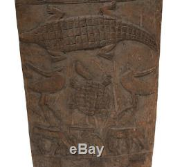 African Carved Wood Door, Senufo Peoples, relief panel animal and humans