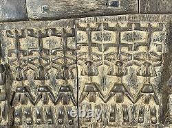 African Tribal Art Carved Hardwood Dogon Door Panel, Carved Figures