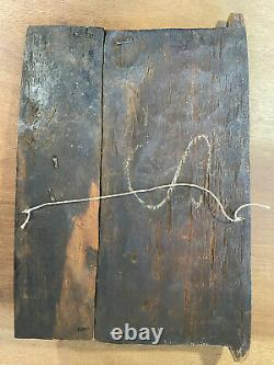 African Tribal Art Carved Hardwood Dogon Door Panel, Carved Figures, With Latch