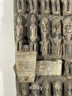 African Tribal Art Carved Hardwood Dogon Granary Door & Lock