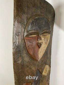 African Tribal Art Carved Hardwood Yoruba Window Shutter Panel, Carved Mask
