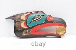 Alaska Inuit Carved Wood Plaque hanging Panel Northwest coast first nations Bird