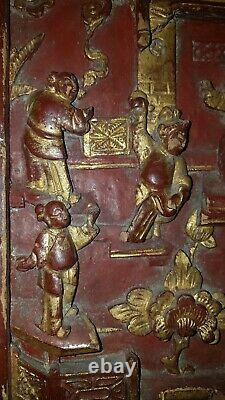 Alte Chinesische Holzschnitzerei Wandrelief Chinese Carved Wood Panel