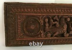 Ancient Old Wood Hand Carved Beautiful Floral Figure Mughal Door Wall Panel Rear