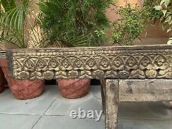 Ancient Wood Fine Carved Painted Rare Hindu God Ganeshs Figure Door Wall Panel