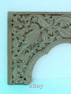 Ancient Wood Fine Carved Parrot Figure Jharokha Temple Door Wall Panel 17th c