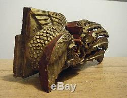 Antique 11 Chinese Wood 3d Carving Fire Bird Phoenix Architectural Tile Panel