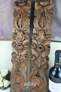 Antique 1880 PAIR German wood carved black forest panels plaques cabinet putti