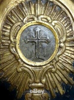 Antique 18th Century GILDED CARVED WOOD PANEL with HOLY MONSTRANCE 252x392mm
