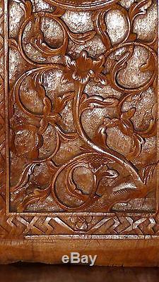 Antique 19c Chinese Elm Wood Hand Carved Panel Depicts Village Scene, Floral Trim