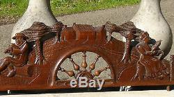Antique 19c French Oak Wood Hand Carved Panel Furniture, Architectural Element #3