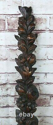 Antique 19c Victorian Gothic Oak Carved Wood Term Caryatid Panel fruit carving